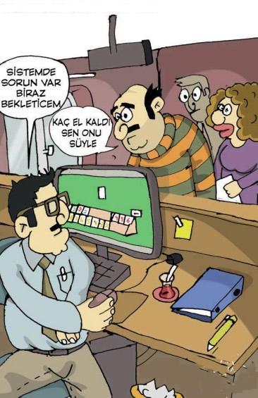 Vatandaş Bekliyor, Memur Okey Oynuyor Komik Karikatür